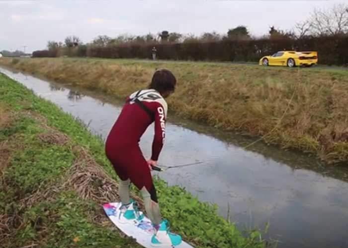 Wakeboarding behind Ferrari